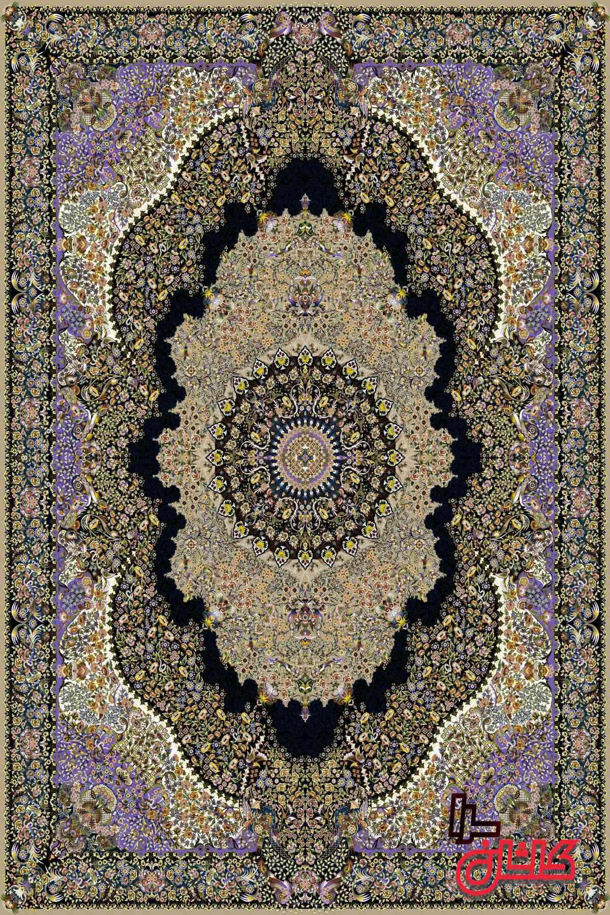 فرش بادامی طرح پدیده فرش سورنا 1000 شانه