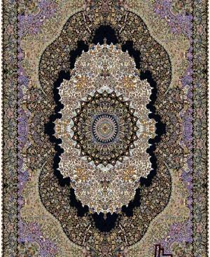 نقشه پدیده با رنگبندی زیبا کاری از شرکت فرش سورنا 1000 شانه ده رنگ تراکم 3000