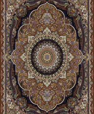 فرش طرح پرهام رنگ زیتونی بافته شده با دستگاه هزار شانه ده رنگ