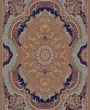 فرش گردویی رنگ طرح روهام 700 شانه کاشان بافته شده با الیاف هیت ست شده
