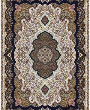 فرش کرم رنگ نقشه شاه پری 1000 شانه تراکم 3000