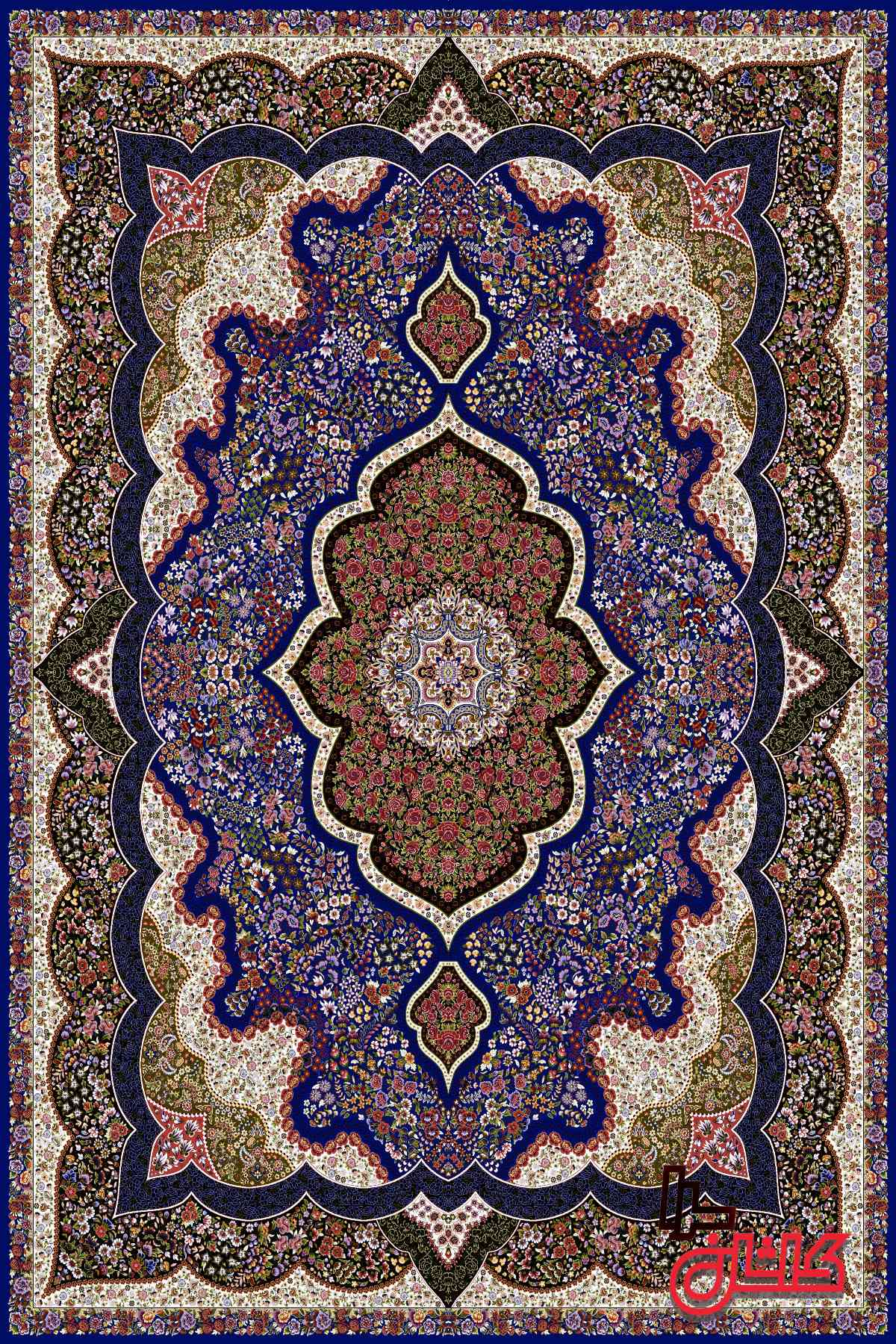 فرش ۱۰۰۰ شانه کاشان طرح شاه پری