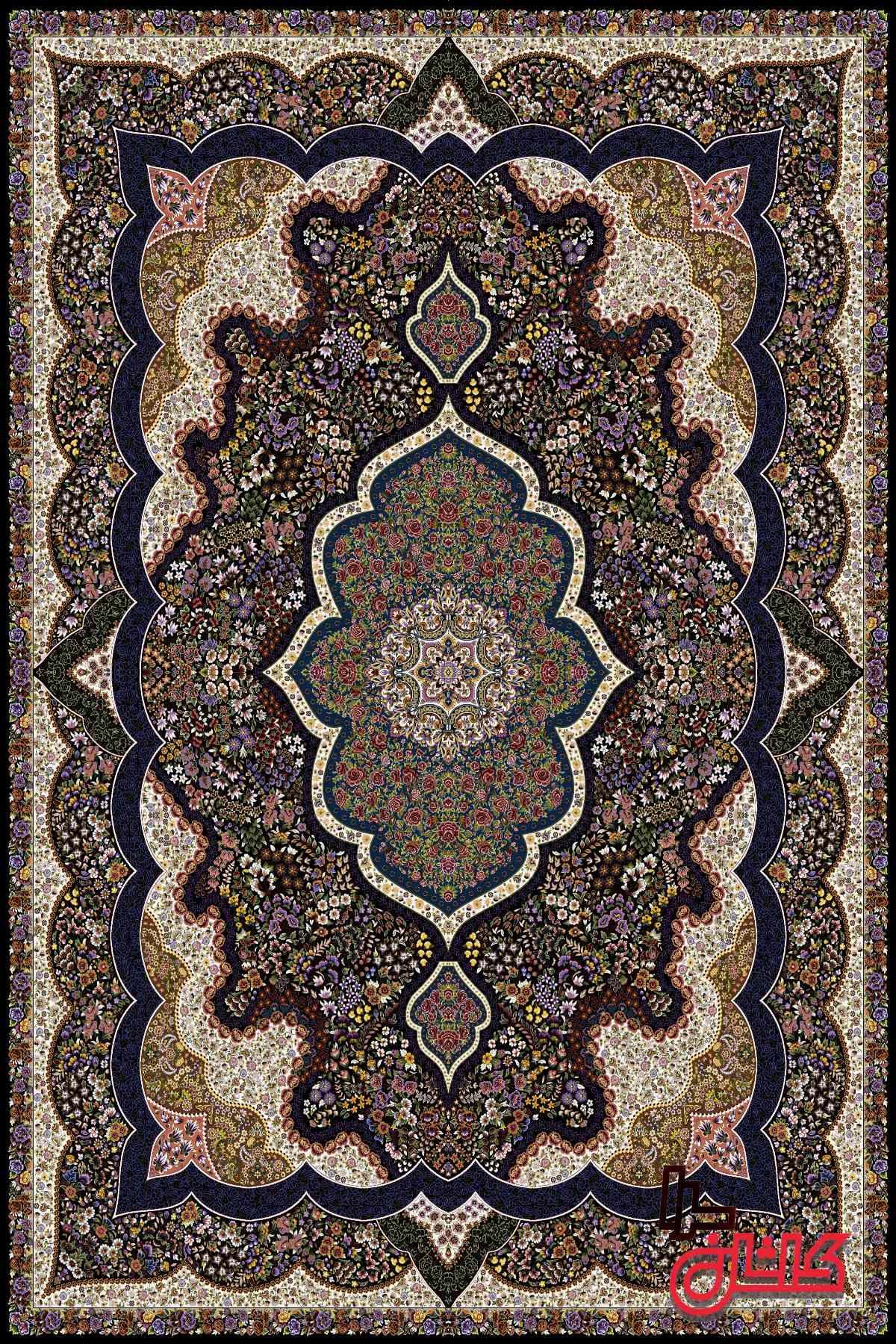 فرش کاشان ۱۰۰۰ شانه طرح شاندیز (شاه پری)