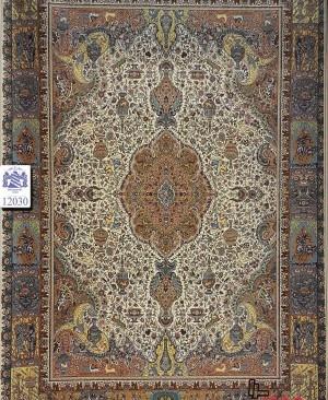 فرش طرح شکارگاه یکی از زیباترین فرش های 1200 شانه شرکت بزرگمهر بافته شده توسط دستگاه وندویل