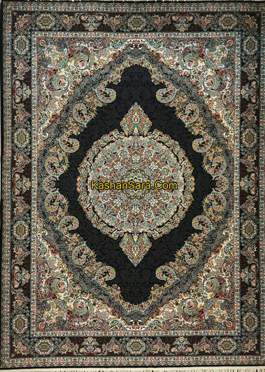 فرش ماشینی ۱۲۰۰ شانه کاشان کد ۱۲۲۰۲