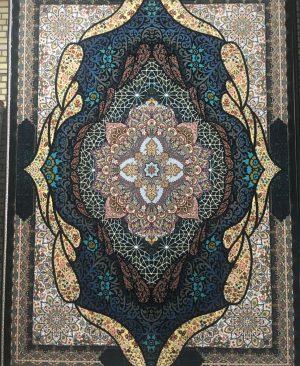 فرش ماشینی کاشان 1000 شانه تراکم 3000 طرح شه بانو رنگ سرمه ای