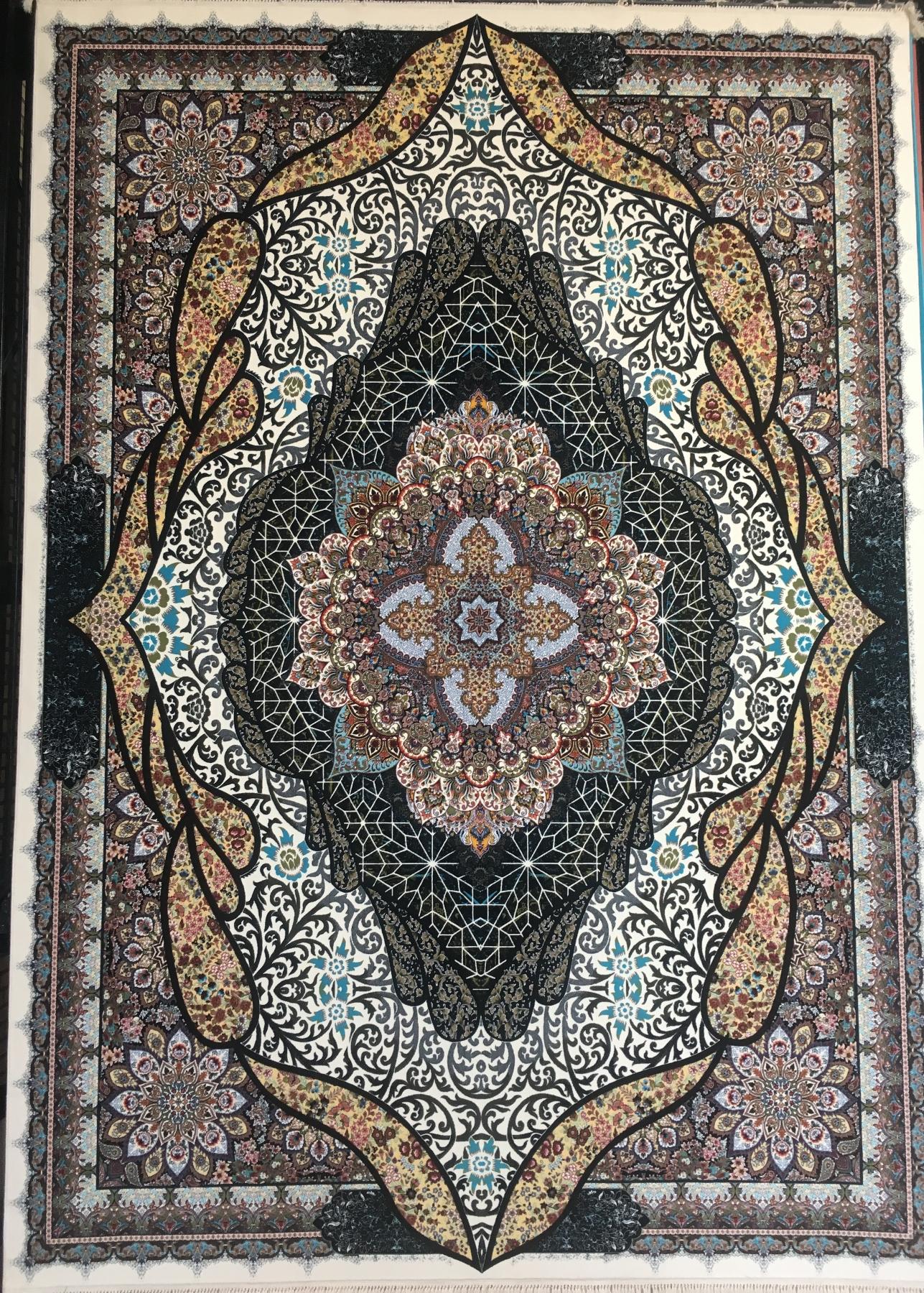 فرش ۱۰۰۰ شانه تراکم ۳۰۰۰ طرح شه بانو رنگ کرم