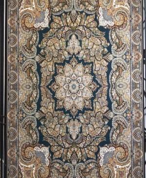 فرش ماشینی 1000 شانه کاشان نقشه فردوس سرمه ای