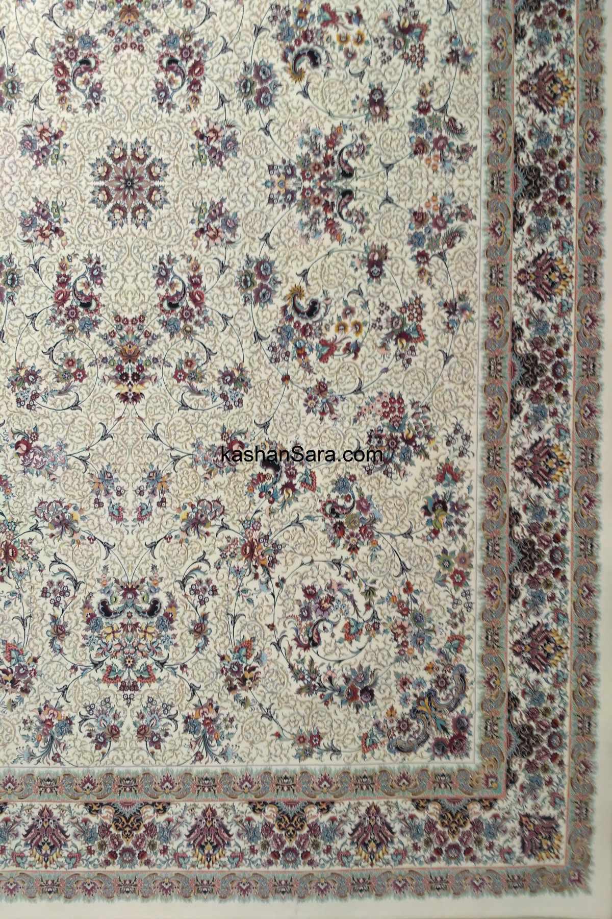 فرش ماشینی ۱۲۰۰ شانه کاشان طرح زنبق