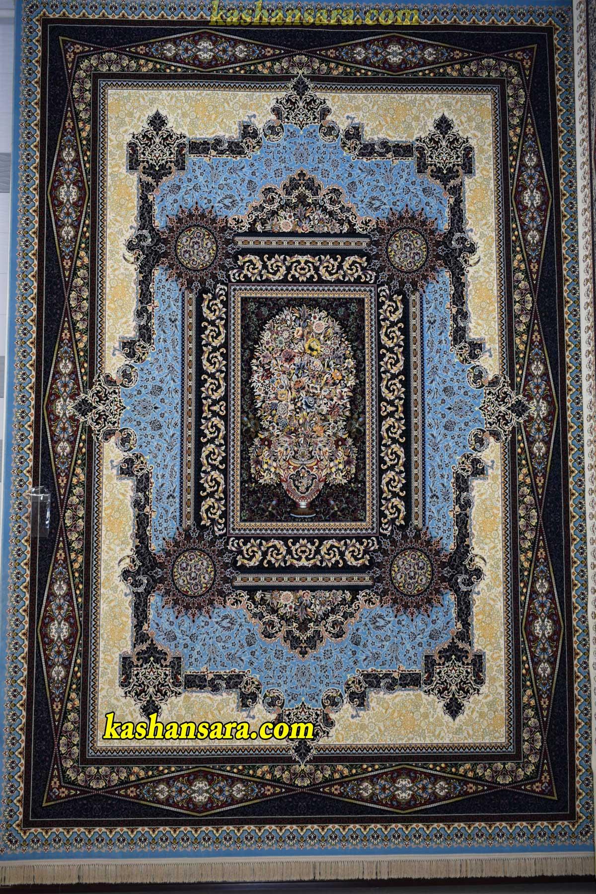 فرش ۱۲۰۰ شانه کاشان طرح گلدانی