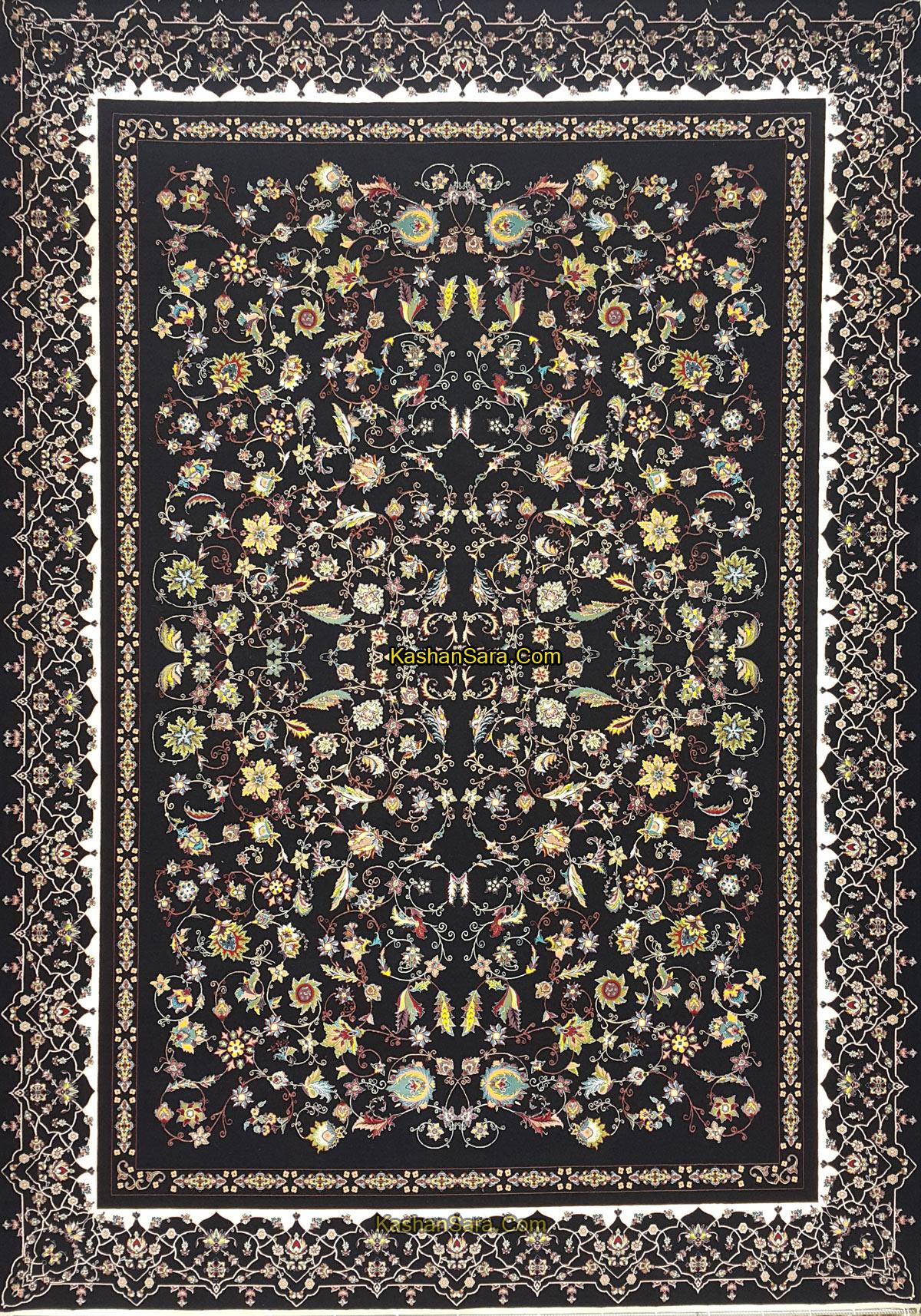 فرش ماشینی ۱۲۰۰ شانه کاشان نقشه زیبای افشان زرگل
