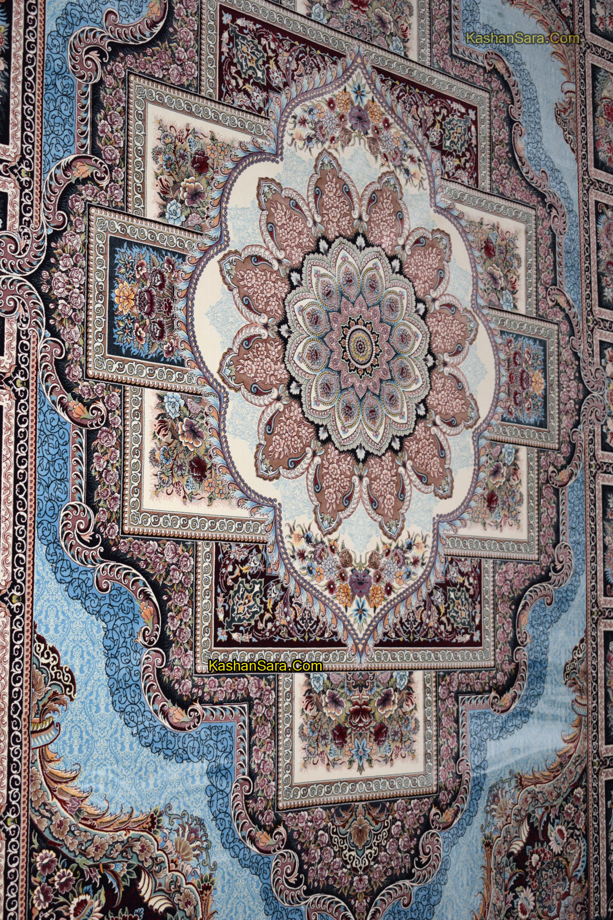 فرش ۱۲۰۰ شانه تراکم ۳۶۰۰ نقشه حوض نقره آبی