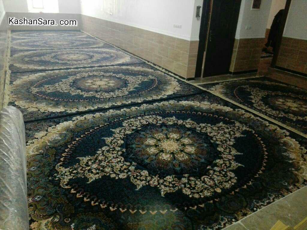 فرش ماشینی کاشان ۷۰۰ شانه تراکم ۲۵۵۰ نقشه ترانه نمای منزل
