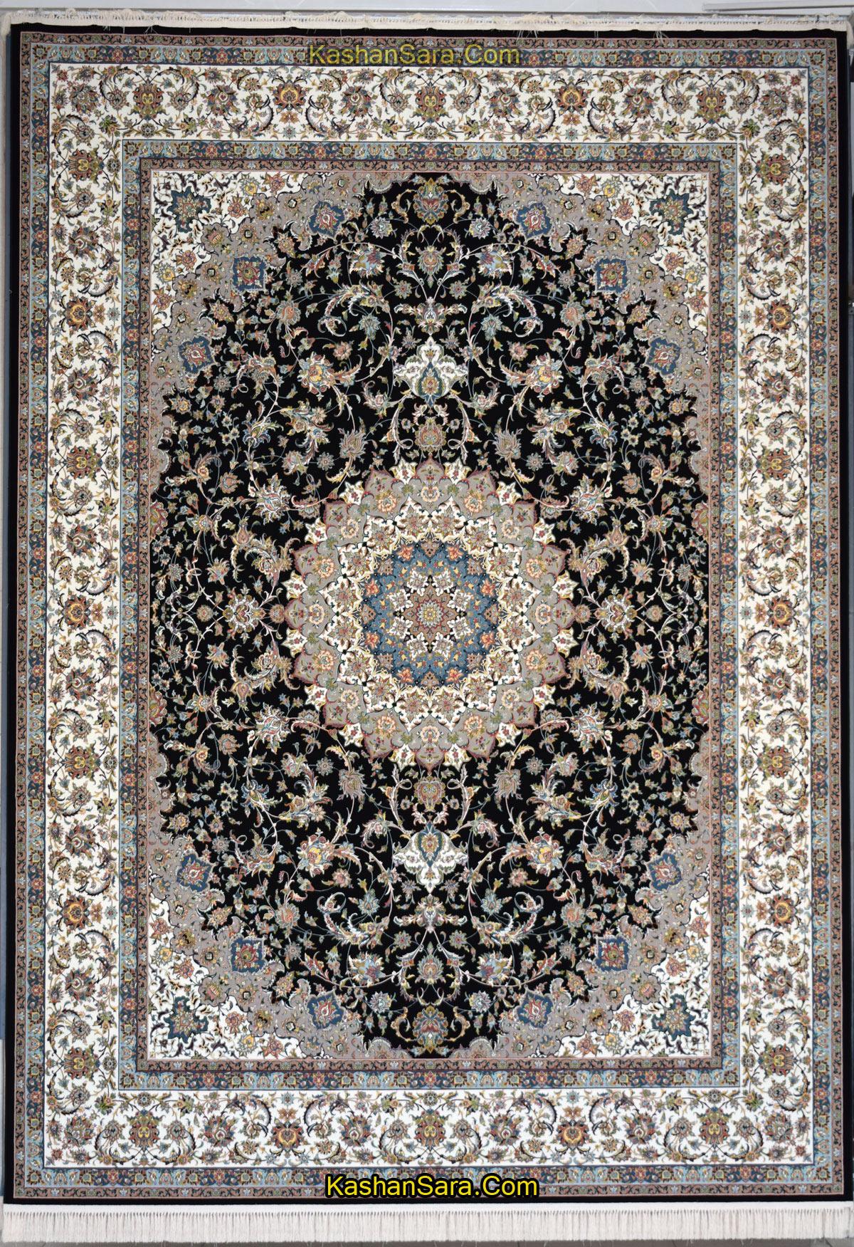فرش ۱۲۰۰ شانه طرح اصفهان سرمه ای