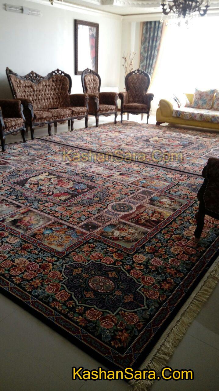 فرش ۱۰۰۰ شانه طرح زیبای باغ ارم