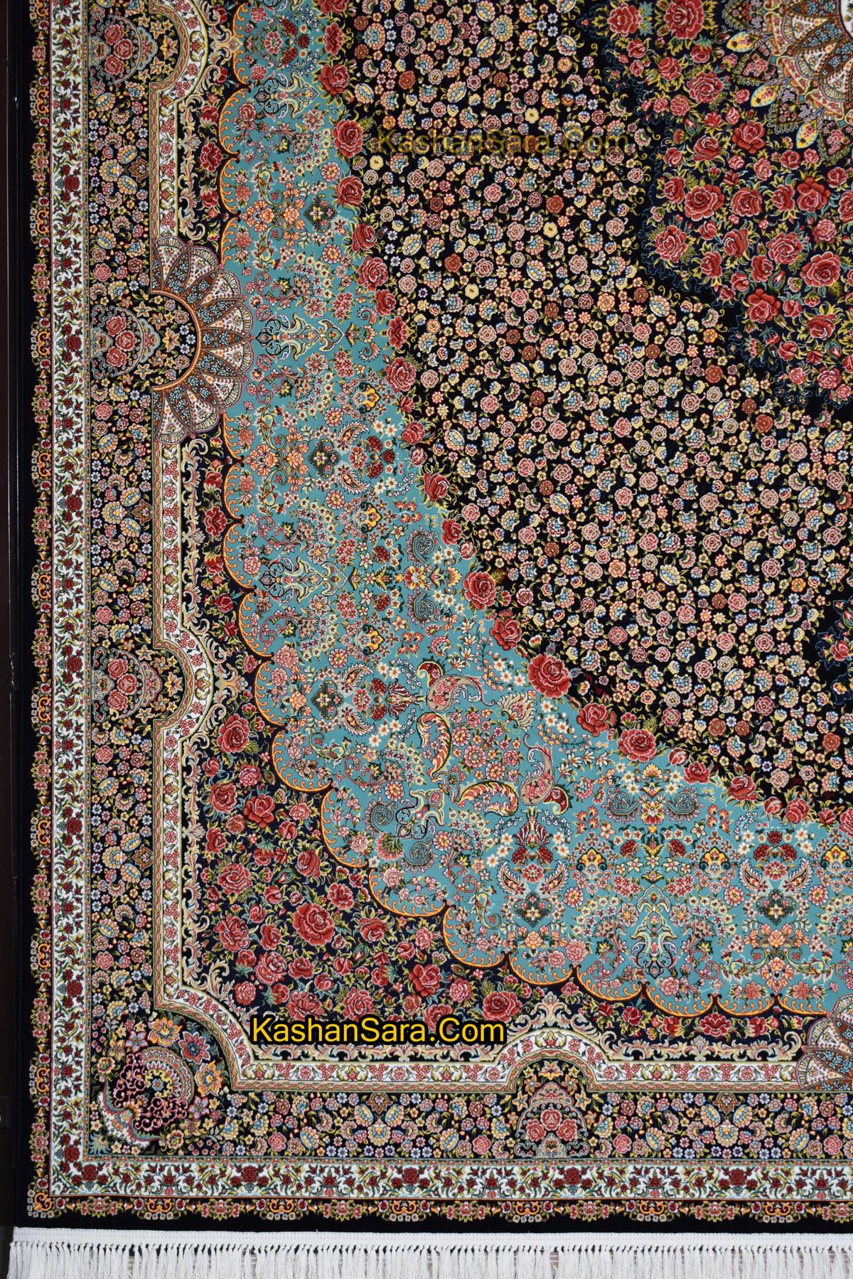 فرش ۱۰۰۰ شانه طرح رز تراکم ۳۰۰۰ فرش کاشان