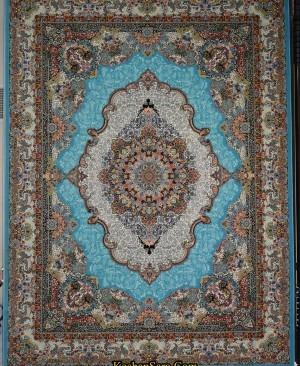فرش 1200 شانه طرح صنم فیروزه ای-فرش کاشان