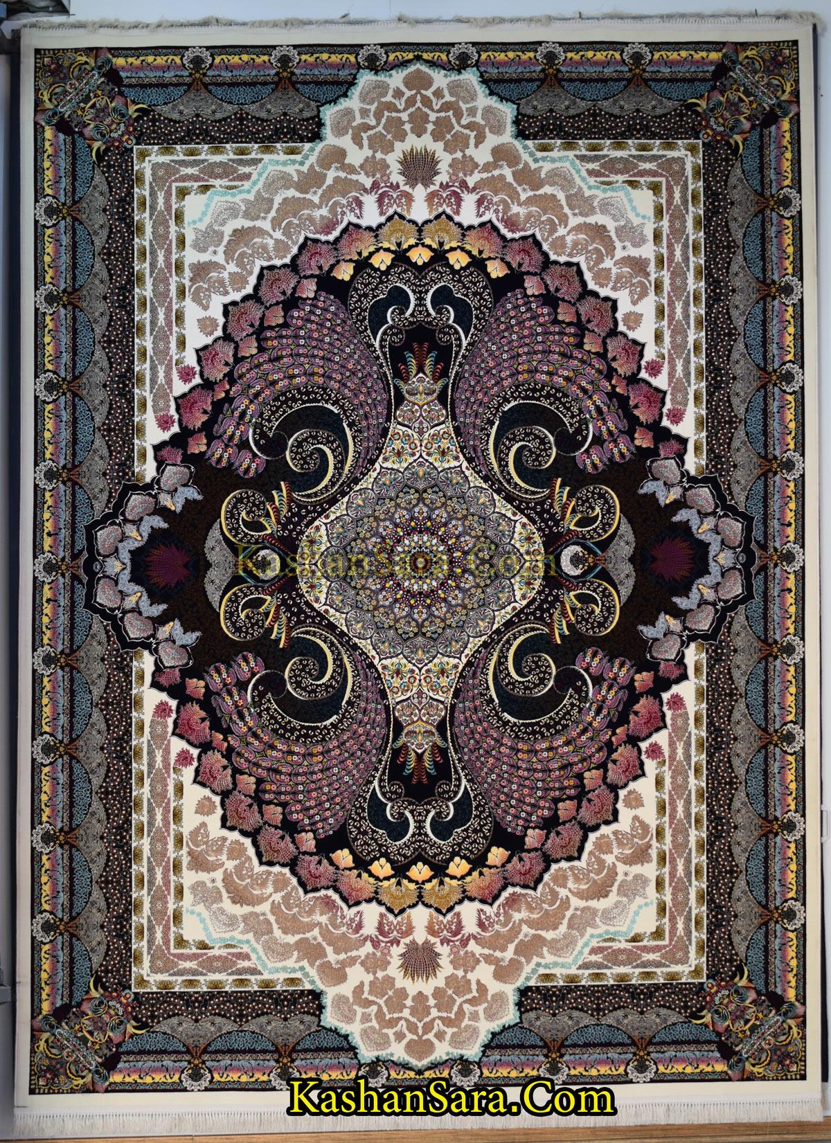 فرش طرح طاووس ۱۲۰۰ شانه تراکم ۳۶۰۰