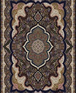 فرش 1000 شانه کاشان تراکم 3000 نقشه شاپری رنگ سرمه ای