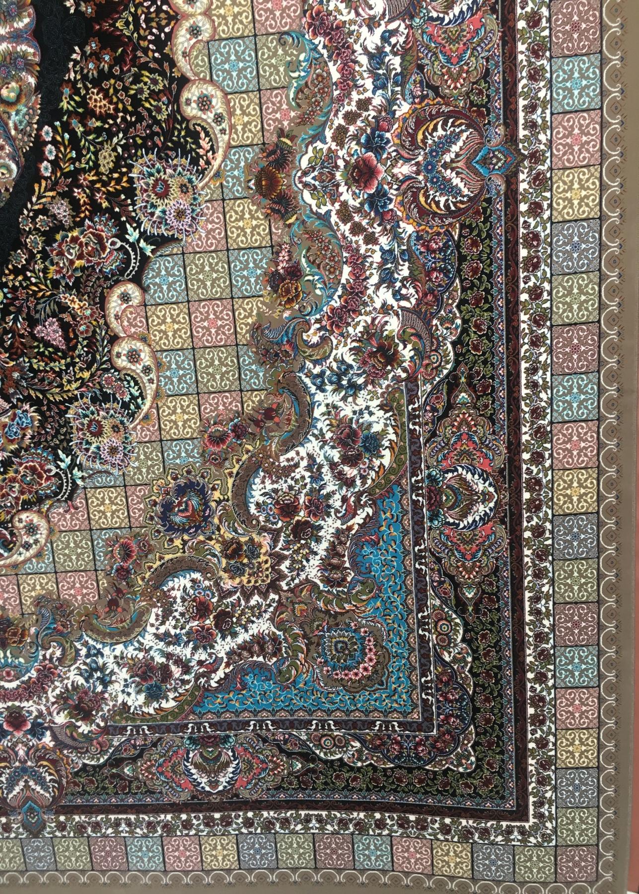 فرش ۱۰۰۰ شانه تراکم ۳۰۰۰ طرح تندیس رنگ گردویی-