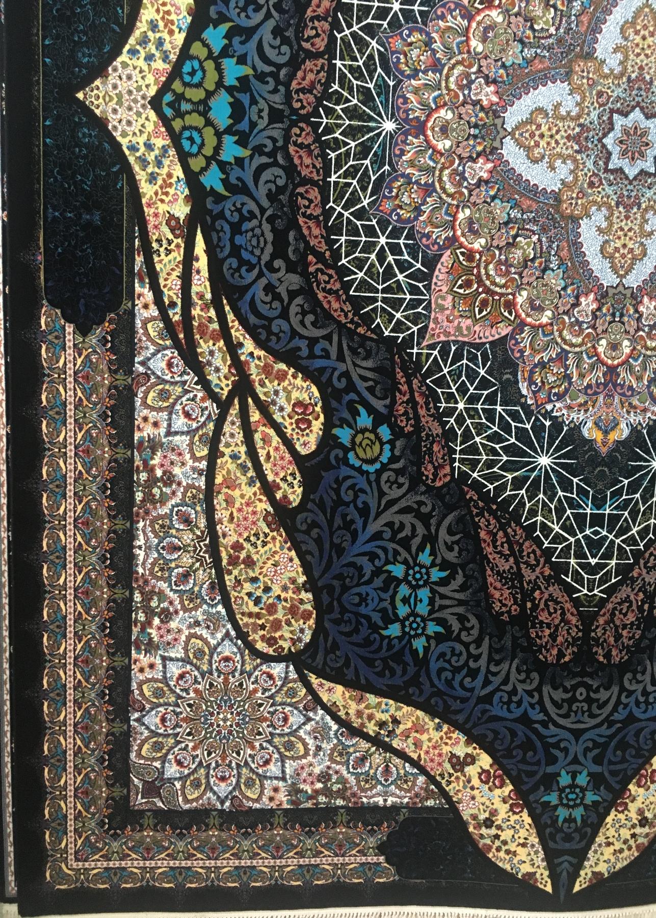 فرش ۱۰۰۰ شانه تراکم ۳۰۰۰ طرح شه بانو رنگ سرمه ای –