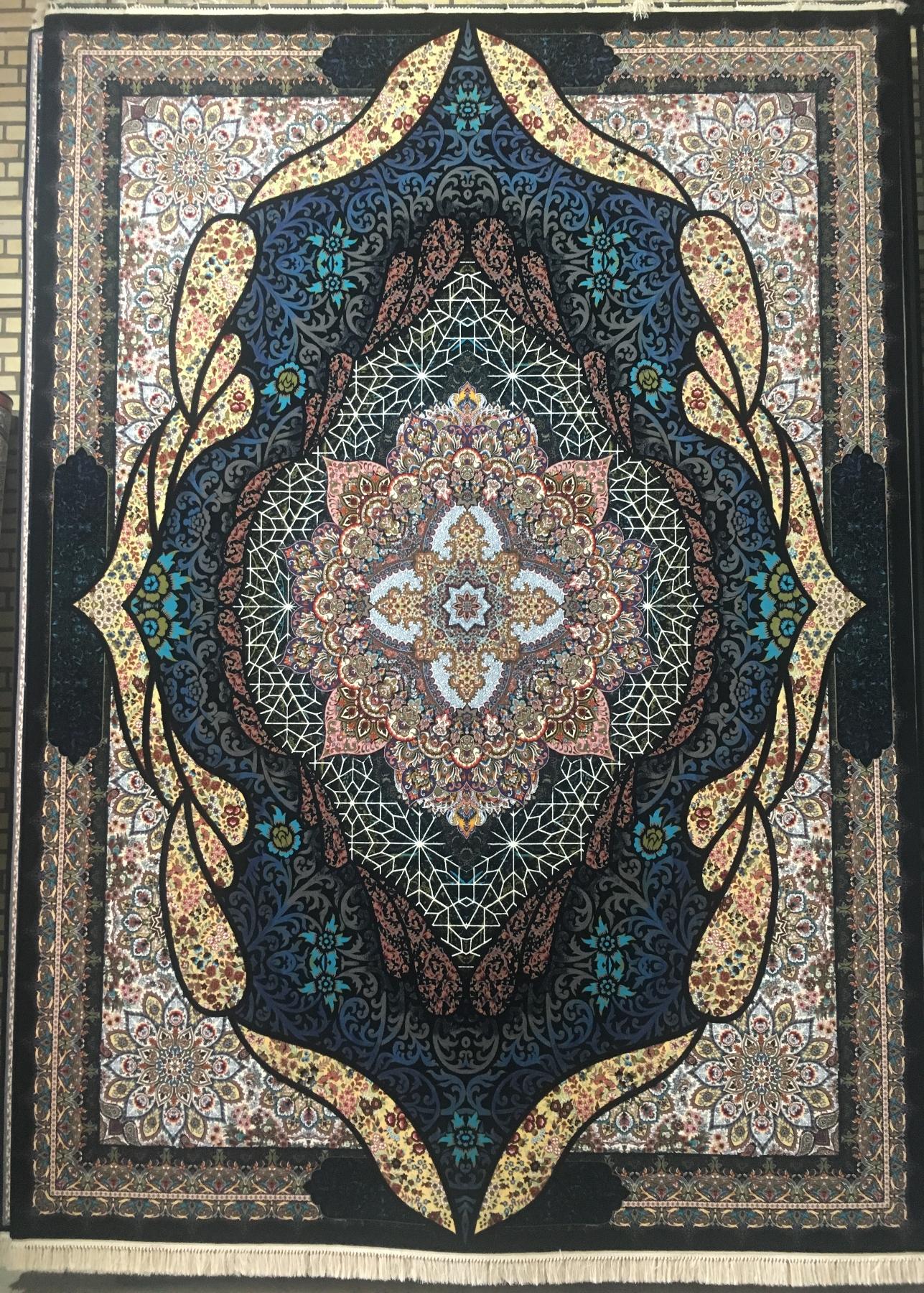 فرش ماشینی کاشان ۱۰۰۰ شانه تراکم ۳۰۰۰ طرح شه بانو رنگ سرمه ای