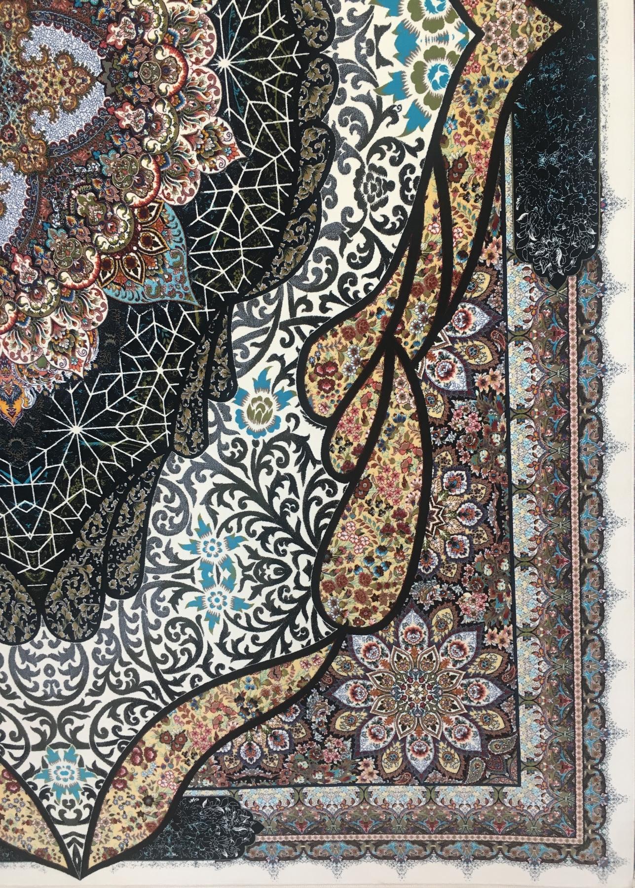 فرش ۱۰۰۰ شانه تراکم ۳۰۰۰ طرح شه بانو رنگ کرم-