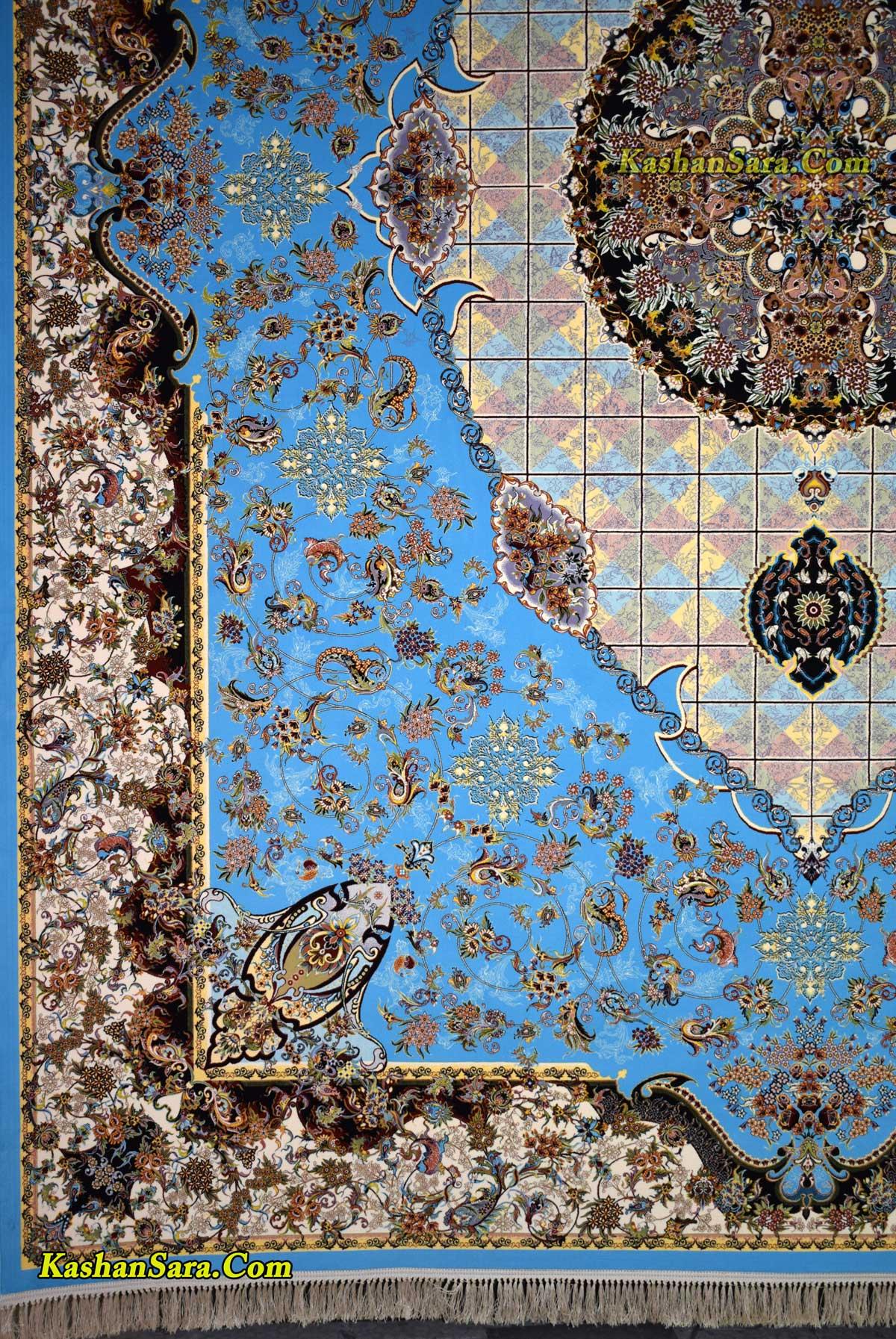 فرش ماشینی ۱۲۰۰ شانه تراکم ۳۶۰۰ نقشه مجنون