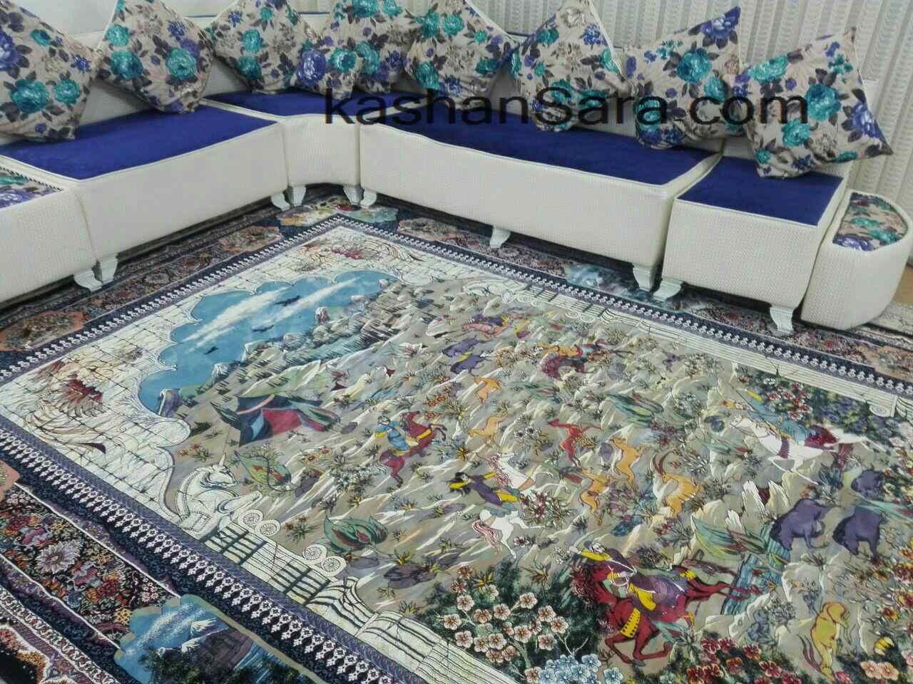 فرش طرح شکارگاه ۱۲۰۰ شانه کاشان