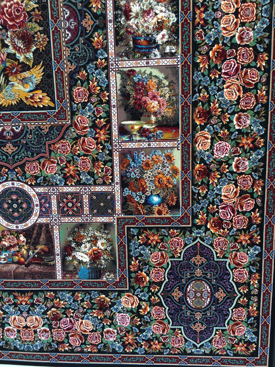 قیمت فرش ۱۰۰۰ شانه طرح باغ ارم ده رنگ