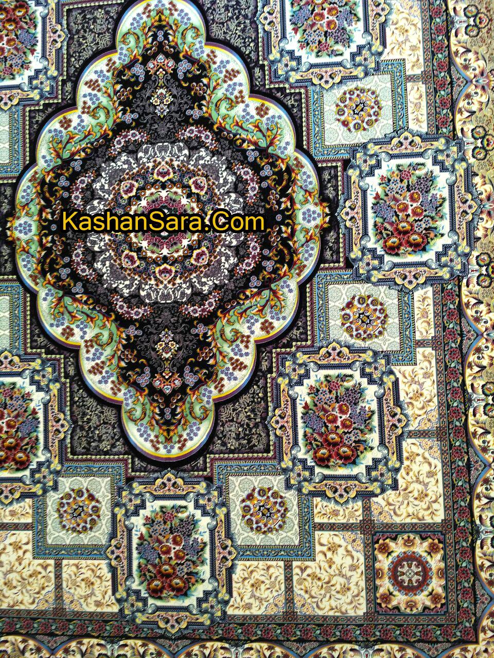 فرش ماشینی ۱۲۰۰ شانه طرح حوض طلا