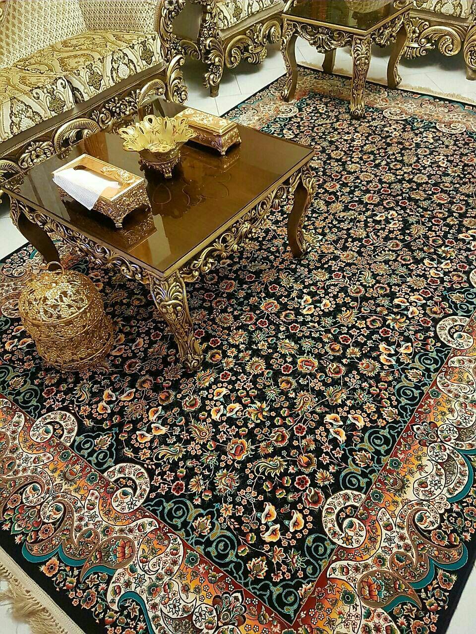 فرش کاشان -۱۲۰۰ شانه طرح می گل سرمه ای