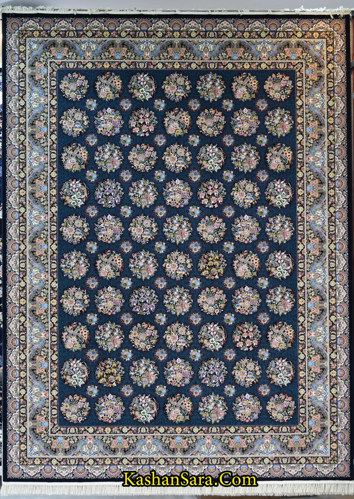 فرش طرح ستاره فروزان سرمه ای ۱۲۰۰ شانه